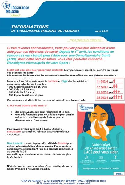 Infos Caf Aide Complementaire Sante